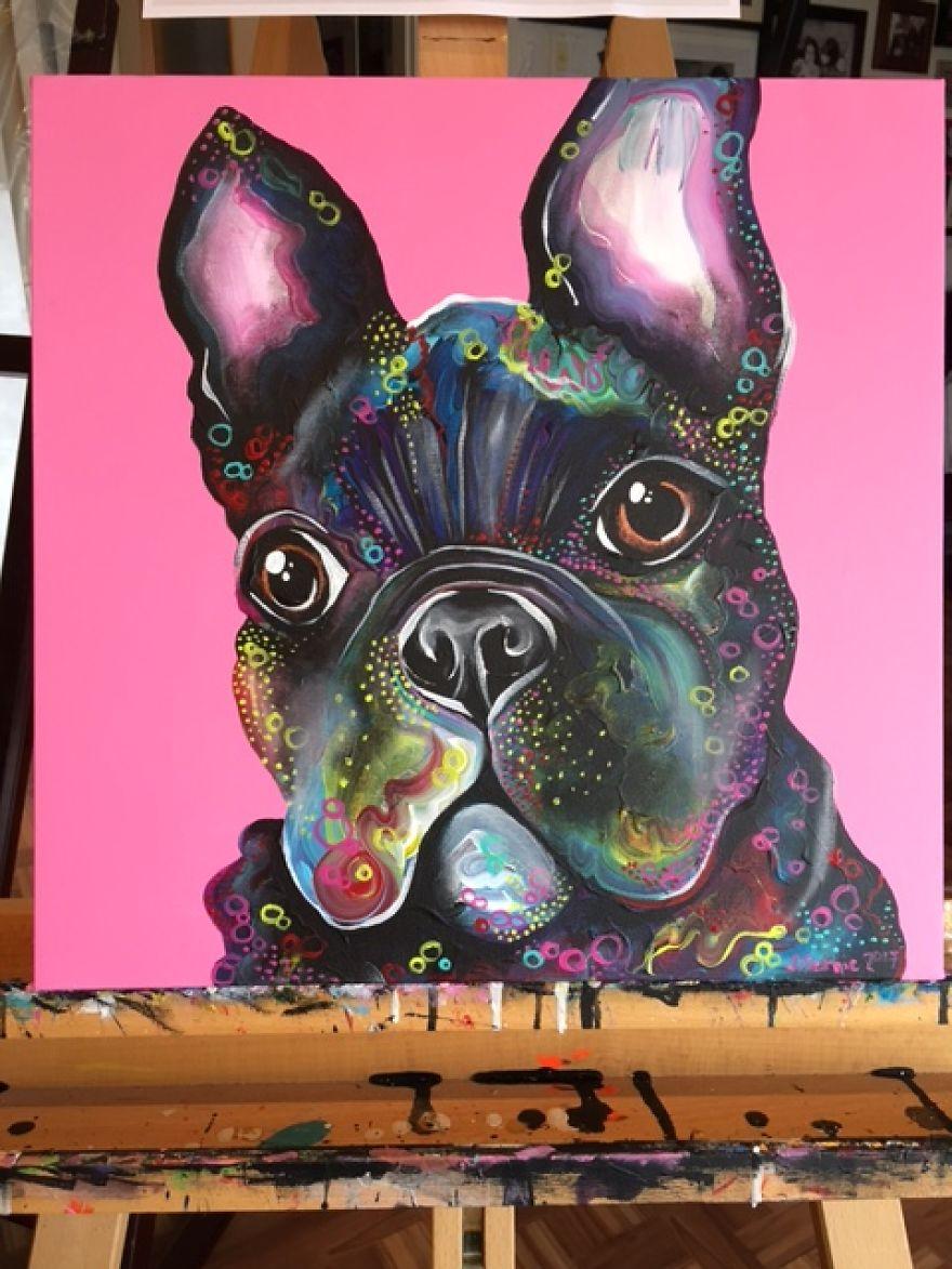 Портрет собаки на холсте