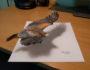 3D рисунки на бумаге, орел в полете