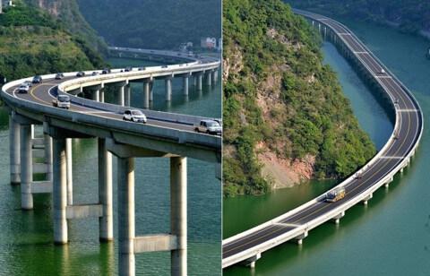 Чтобы не повредить лес, в Китае построили мост вдоль реки. Интересное решение!