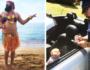 Папа делает весёлые фотографии со своей дочерью