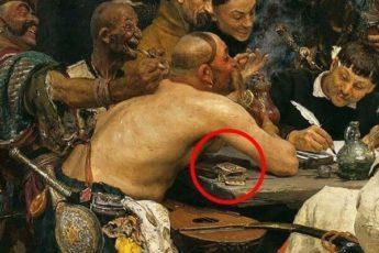 Интересный нюанс на картине Репина «Запорожцы»