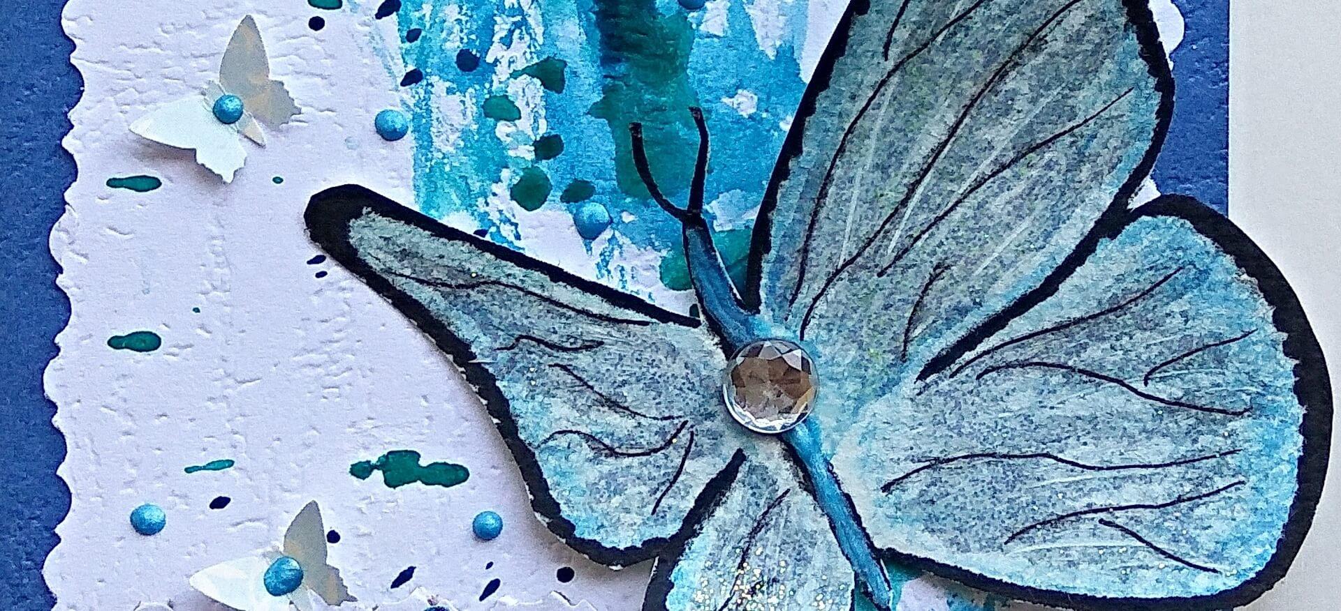 Открытка с бабочкой в технике скрапбукинг